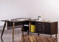Durian ECLIPSE/R Engineered Wood Office Table(Free Standing, Finish Color - African Walnut)