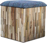View InLiving Solid Wood Pouf(Finish Color - whitewash) Furniture (InLiving)