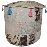 View Lal Haveli Fabric Pouf(Finish Color - White) Furniture (Lal Haveli)