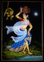 Vidushi Lady Carrying Pot Nirmal Enamel Painting(17.01 inch x 11.89 inch)