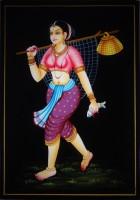 Vidushi Fishing Lady Nirmal Enamel Painting(17.01 inch x 11.89 inch)