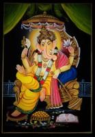 Vidushi Ganesha Nirmal Enamel Painting(17.01 inch x 11.93 inch)
