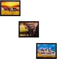 eCraftIndia Set Of 3 Running Horses And Elephants Matt Textured Framed Uv Art Print Oil 11 inch x 14 inch Painting