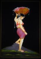 Vidushi Lady Carrying Flower Basket Nirmal Enamel Painting(17.01 inch x 11.89 inch)