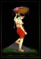 Vidushi Lady Carrying Flower Basket Nirmal Enamel Painting(17.01 inch x 11.81 inch)