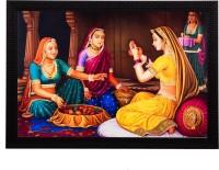 eCraftIndia Women chit-chat Satin Matt Textured UV Art Canvas 11 inch x 14 inch Painting