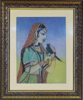 Vidushi Queen with parrot Gemstone Natural Colors Painting(17.519685039370078 inch x 14.566929133858267 inch)