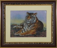 Vidushi Tiger Gemstone Natural Colors Painting(9.84251968503937 inch x 11.811023622047244 inch)