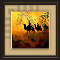 JAY GANESH FRAMES DIGITALLY PRINTED CLASSIC, CREATIVE AND DECORATIVE PHOTO FRAMES/WALL HANGINGS FOR HOME DECOR, GOLDEN COLOR HOT DESERT ABSTRACT PICTURE PHOTO WITH BLACK FRAME, SIZE: 13.75 INCH x 13.75 INCH Digital Reprint 13.75 inch x 13.75 inch Painting