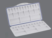 Khyati Plastic 21 Paint Wells Palettes  with Lid(Set of 1, White)