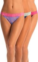 PrettySecrets Tease Me Womens Thong Blue, Purple, Black Panty(Pack of 3)
