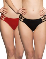 Clovia Bond Girl Brief in Red & Purple Women's Hipster Red, Purple Panty(Pack of 2)