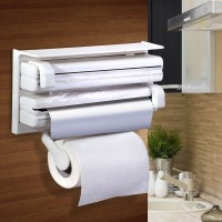 VibeX ® Multipurpose Kitchen Triple Holder Tissue / Foil/ Cling Wrap ABS Strong Moulded Easy Flow™ Type-X-9 Paper Dispenser