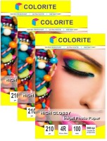 Colorite 210gsm Cast Coated Inkjet Unruled 4R Photo Paper(Set of 3, White)
