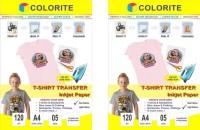 Colorite 120gsm Tshirt Light Plus Dark Fabrics Inkjet Unruled A4 120 gsm Transfer Paper(Set of 2, White)