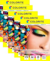 Colorite 210gsm Cast Coated Inkjet Unruled A4 Photo Paper(Set of 5, White)