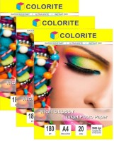 Colorite 180gsm Sheets Cast Coated Inkjet Unruled A4 Photo Paper(Set of 3, White)