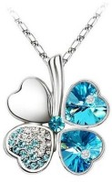 GirlZ! Clover Flower With Blue Petals With Imported Austrian Crystals Alloy Pendant