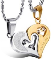 Yellow Chimes Lovers Heart I Love You Engraved Rhodium Alloy Pendant Set