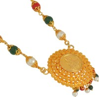 Memoir Memoir Gold plated Handcrafted Rich Laxmi Pendant Necklace studded with Semi-precious stones and Gajra Chain for Women Gold-plated Brass Pendant