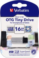 Verbatim Store  Go OTG Tiny USB 3.0 Drive 16 GB OTG Drive(Silver, Type A to Micro USB)