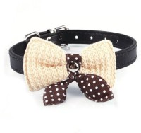 Futaba Futaba Knit Bowknot Adjustable Leather Pet Collars Necklace, - Black Embellished Dog Collar Charm(Black, Other)
