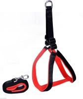 Pets Planet Large Size Black Dog Harness & Leash(Large, Red, Black)