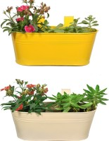 TrustBasket Set of 2 -Oval railing planter - Ivory and Yellow Plant Container Set(Pack of 2, Metal)