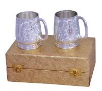 Shreeng Silver Plated Brass Mug Set With Golden Box Brass Decorative Platter(Silver, Pack of 2)