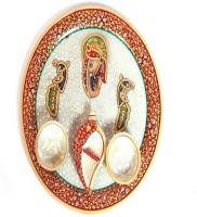 Shreeng Ganesh and Peacock Engraved Meenakari Pooja Plate Marble(1 Pieces, Multicolor)