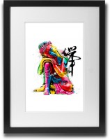 Shaildha's Water Colour Painting Print of Sitting Buddha With Chinese Inscription Fine Art Print(11 inch X 9 inch)