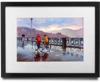 Shaildha's Water Colour Painting Print of Bicycle Ride On A Rainy Day Fine Art Print(9 inch X 11 inch)