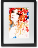 Shaildha's Water Colour Painting Print of Flowery Girl Fine Art Print(11 inch X 9 inch)