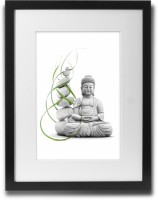 Shaildha's Water Colour Painting Print of Meditating Buddha With Yellow Flower Fine Art Print(11 inch X 9 inch)