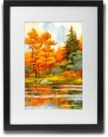 Shaildha's Water Colour Painting Print of Summer Lake Fine Art Print(11 inch X 9 inch)