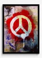 Seven Rays Peace Graffiti Framed (Small)(17 inch X 13 inch)