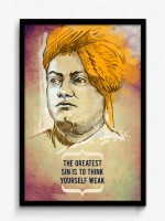 Seven Rays Swami Vivekananda - The greatest Sin is to think Yourself Weak Framed (Small)(19 inch X 13 inch)