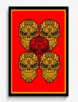 Seven Rays Abstract - Five Skull Red BG Framed (Small)(19 inch X 13 inch)