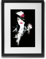 Shaildha's Water Colour Painting Print of Lady Black And Red Fine Art Print(11 inch X 9 inch)