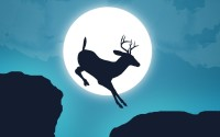 Deer Jump Moon Animation Poster Paper Print(12 inch X 18 inch, Rolled)