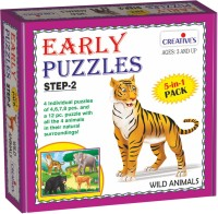 Creatives Early Puzzles Step 2 – Wild Animals ( 5 in 1 for ages 3 and above)(4 Pieces)