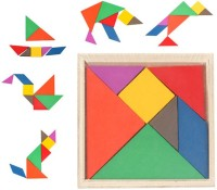 Emob Wooden Tangram Jigsaw Puzzle Board Game For Toddler Educational Toy(7 Pieces)