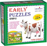 Creatives Early Puzzles Step 2 – Farm Animals (5 in 1 puzzles for ages 3 & above)(8 Pieces)