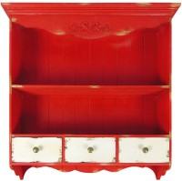 View The Attic Wooden Wall Shelf(Number of Shelves - 2, Red) Furniture (The Attic)