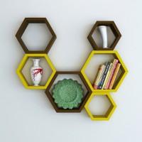 View Wallz Art Hexagon Shape MDF Wall Shelf(Number of Shelves - 6, Yellow) Price Online(Wallz Art)