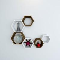 View Wallz Art Hexagon Shape MDF Wall Shelf(Number of Shelves - 6, Brown) Price Online(Wallz Art)