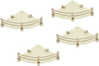 View RoyaL Indian Craft Brass Bracket 8 By 8Inch Full Frosted (Pack of 4) Glass Wall Shelf(Number of Shelves - 4, White, Beige) Furniture (royaL indian craft)