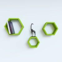View Wallz Art Hexagon Shape MDF Wall Shelf(Number of Shelves - 3, Green) Price Online(Wallz Art)