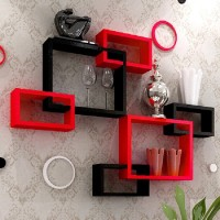 View Decor India Craft MDF Wall Shelf(Number of Shelves - 6, Red, Black) Furniture (Decor India Craft)