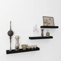 View eCraftIndia Set of 3 Modern Design Floating Wooden Wall Shelf(Number of Shelves - 3, Black) Furniture (eCraftIndia)